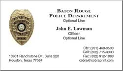 Cobra Printing Productions Brpd Business Cards
