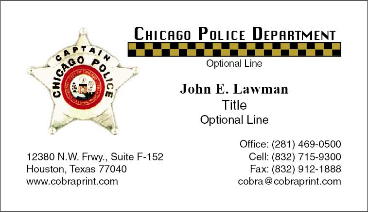 sample card - Police Business Cards