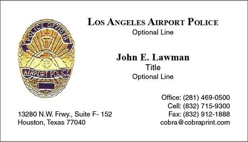 Cobra printing productions lax business cards sample card sample card reheart Images