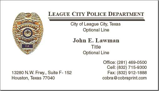 Cobra Printing Productions LCPD Business Cards - Police business cards templates