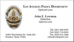 Cobra printing productions lapd business cards sample card reheart Images