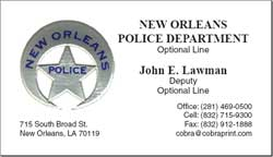 Cobra printing productions nopd business cards sample card reheart Images