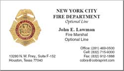 Cobra Printing Productions Fdny Business Cards