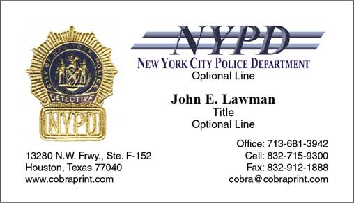 Cobra Printing Productions NYPD Business Cards - Police business cards templates