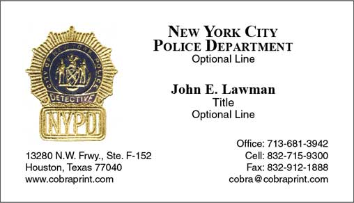 Cobra Printing Productions Nypd Business Cards