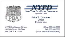 Cobra printing productions nyc pba business cards for Nypd business cards