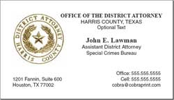 Harris County District Attorney: Business Cards