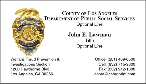 Cobra printing productions dpss business cards - California bureau of security and investigative services ...
