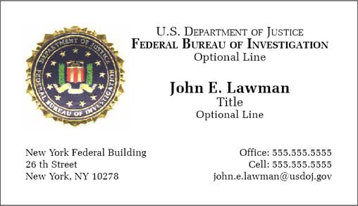 Cobra Printing Productions Fbi Business Cards