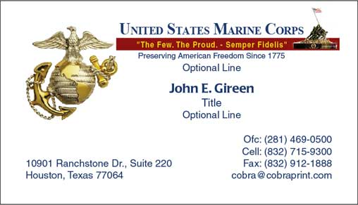 Cobra printing productions usmc business cards for Marine corps business cards