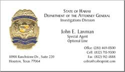 Cobra printing productions hi attorney general business cards sample card reheart Gallery